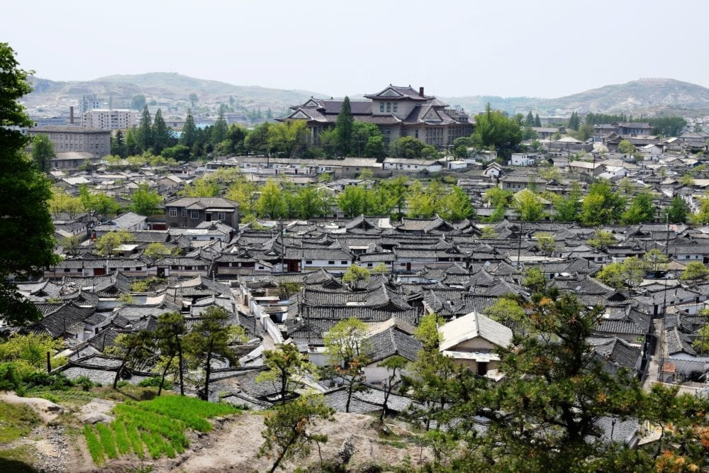 A view across the tiled roofs of Kaesong, North Korea