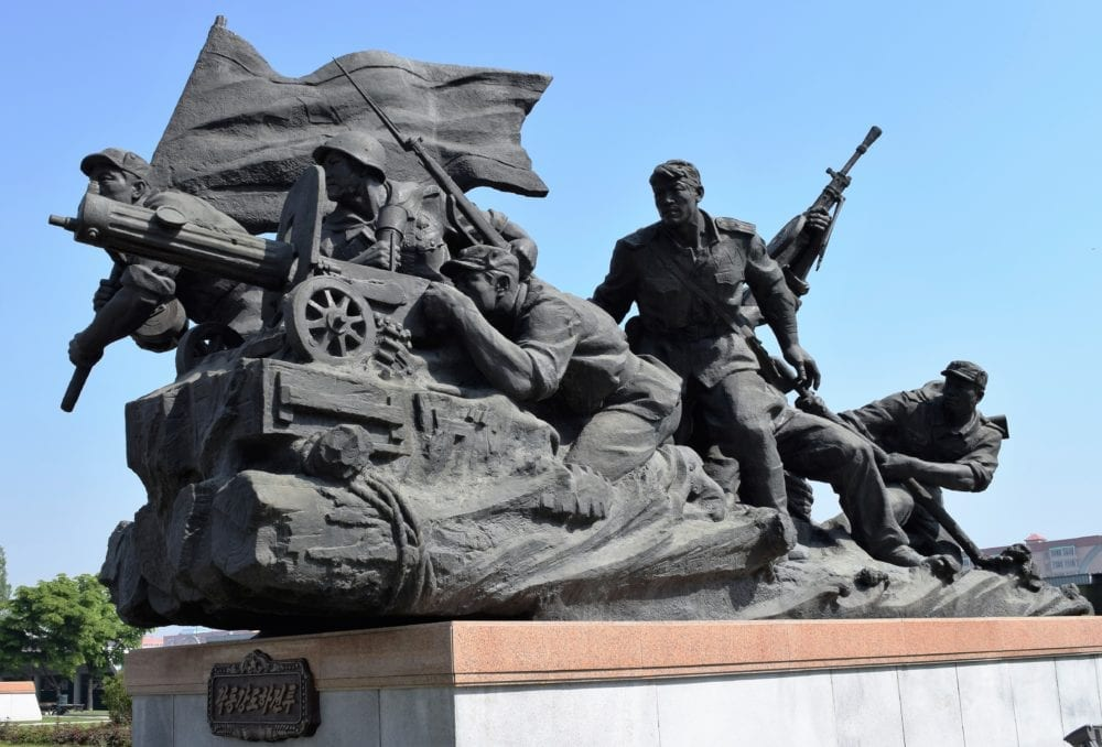 Statue of soldiers fighting at the Victorious Fatherland Museum Pyongyang