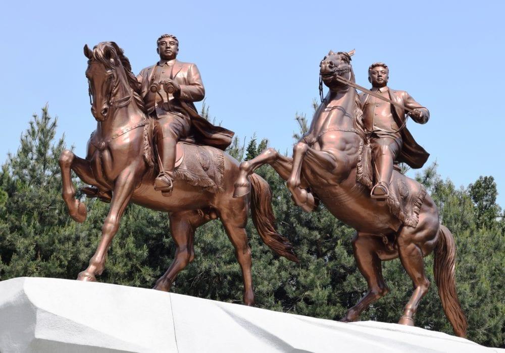 Bronze statues of Kim Il Sung and Kim Jong Il on horseback in North Korea