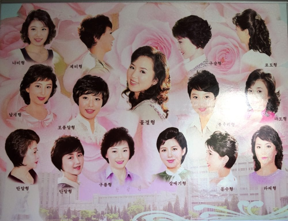 A board in a hairdresser in Pyongyang showing possible choices of hairstyles