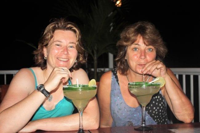 Sue and Sarah drinking margaritas