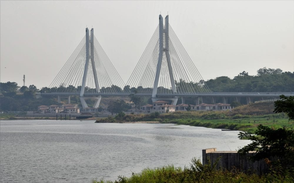 The modern suspension bridge at Brazzaville