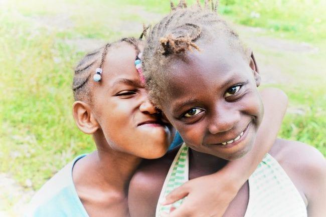 Portrait of two girls at Roca Agostinho Neto São Tomé