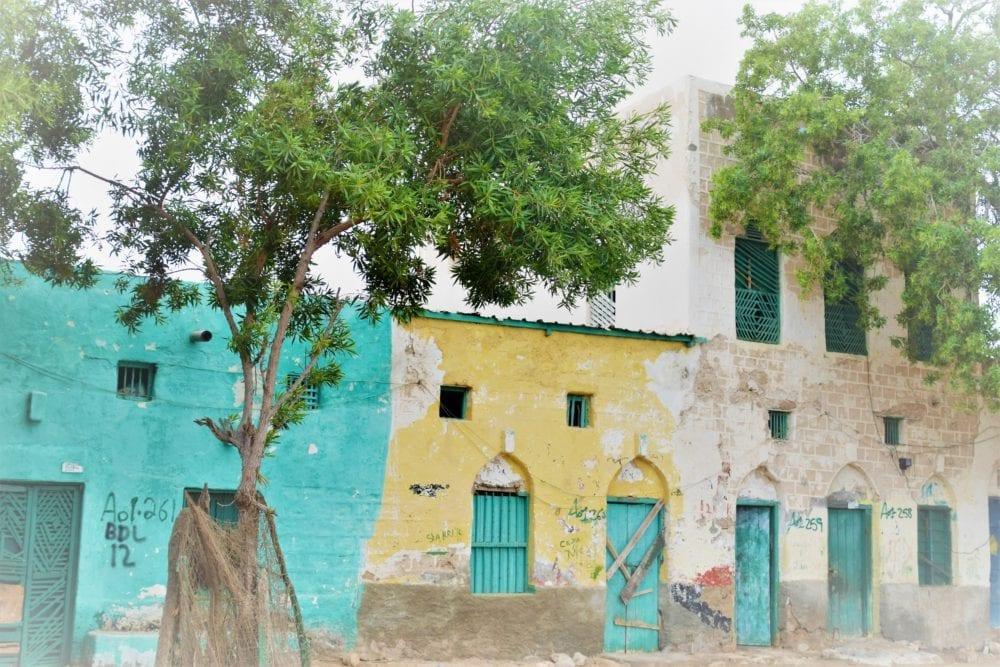Peeling pastel frontages on older buildings in Berbera Somaliland