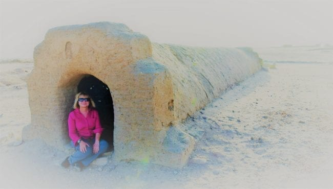 Sue at the entrance to a tomb at El Kurru