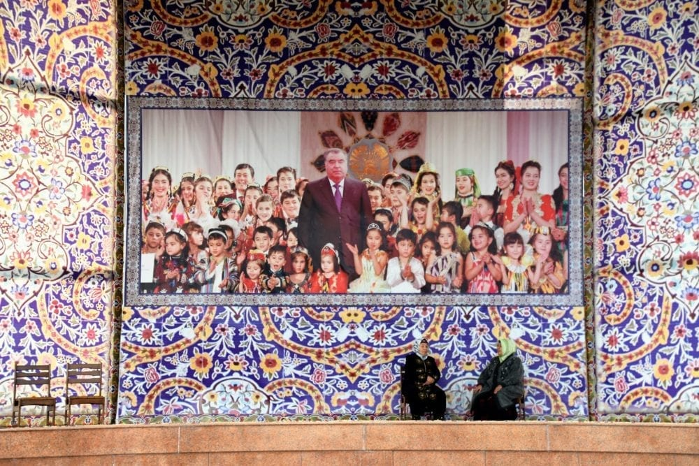 A mural at Khujand showing the President of Tajikistan with schoolchildren