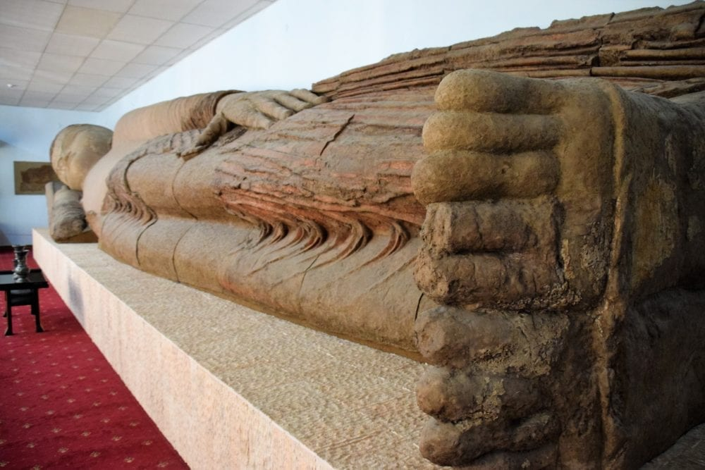 The reclining Buddha in the History Museum at Dushanbe