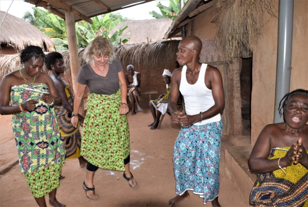 Sue dancing at a Voodoo ceremony in Togo