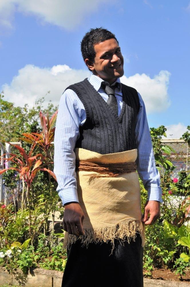 A Tongan man in his woven Sunday apron