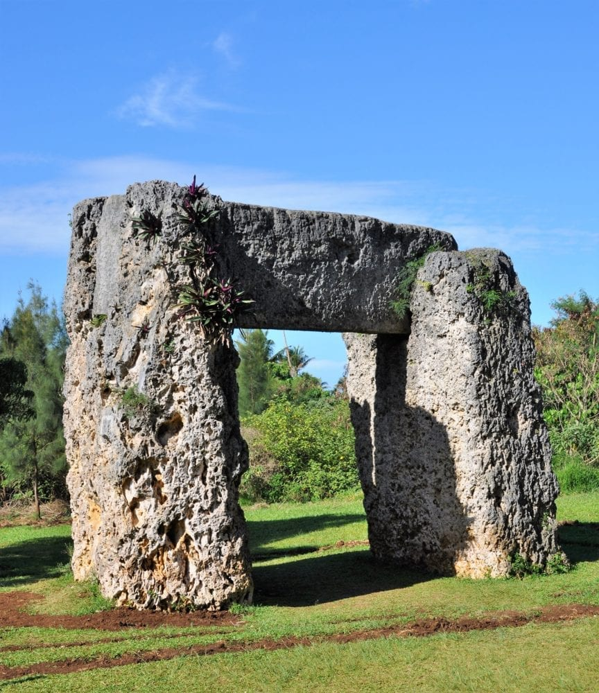 A coralstone arch in the ruined Tongan palace on Tonga