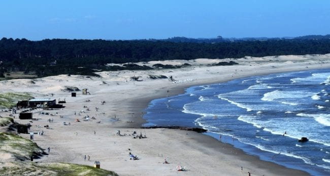 The sweep of beach viewed from the top of the lighthouse at José Ignacio, Uruguay