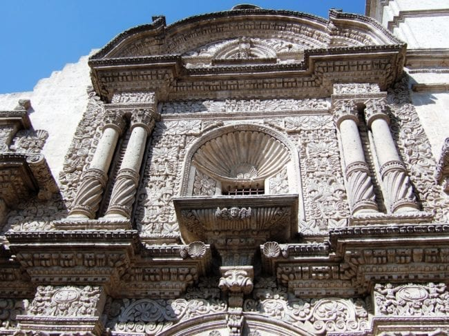 Close up of the carvings on the façade of Cuzco Cathedral