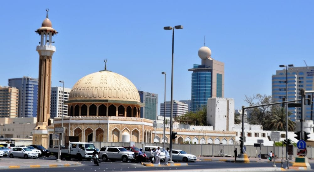The large dome of a mosque in Abu Dhabi