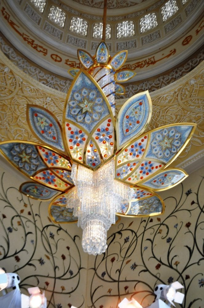 A beautifully decorated flower chandelier in the mosque at Abu Dhabi