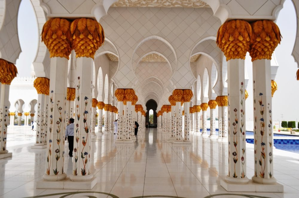 Beautifully decorated walkways at the Sheikh Zayed Grand Mosque, Abu Dhabi