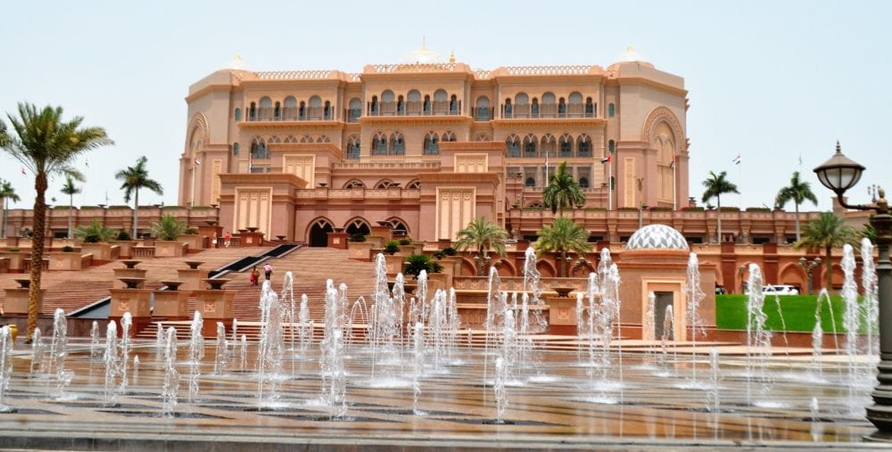 Fountains in front of the Emirates Palace Hotel