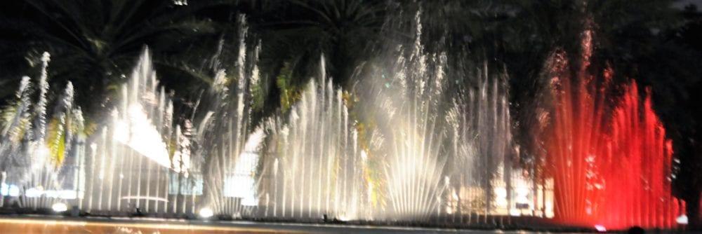 The coloured fountain display at Al Ain