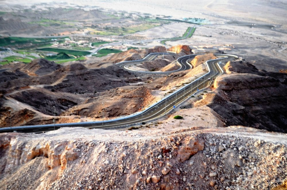 A switchback of hairpin bends over the Jabal Hafeet to Oman