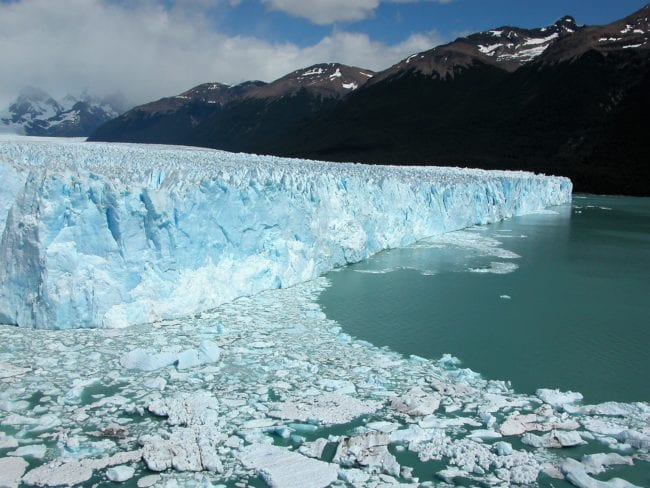 Panoramic view of the Perito Moreno Glacier, Patagonia Argentina, Ice floating in the water