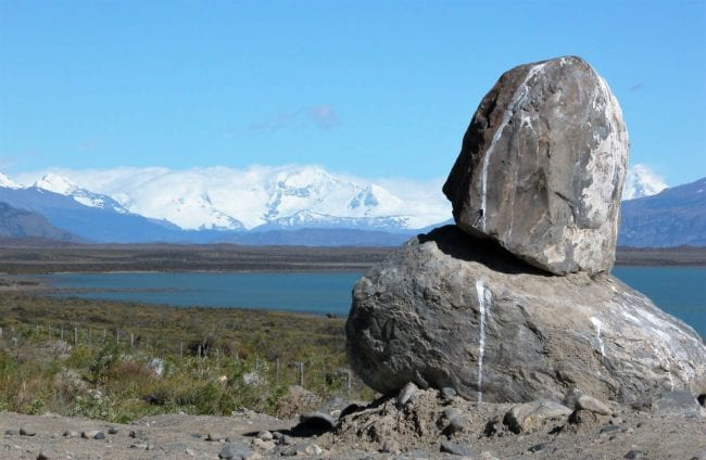 Giant balancing boulders in Los Glaciares National Park