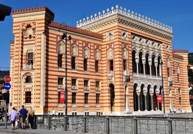 Venetian style orange and red Sarajevo City Hall