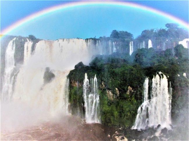 A rainbow in the spray over Iguassu Falls, Brazil