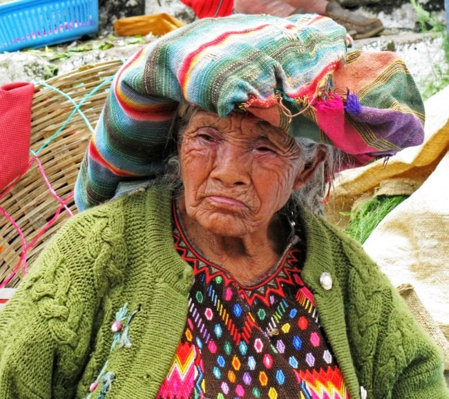 Portrait of a Guatemalan woman in traditional dress