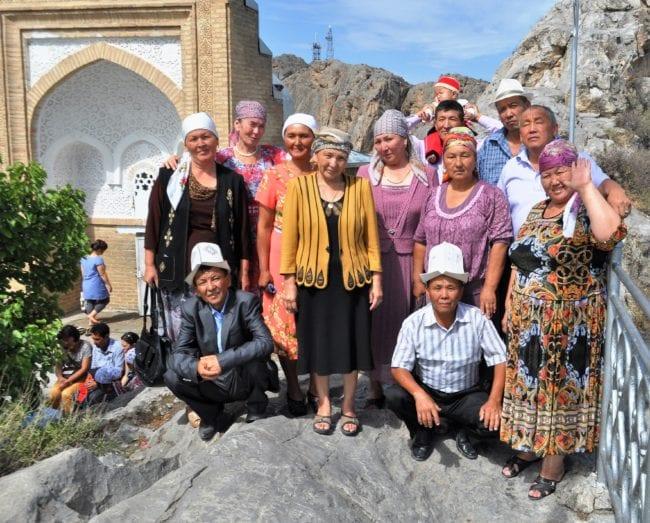 A Kyrgyz family at Solomon's Mountain, Osh