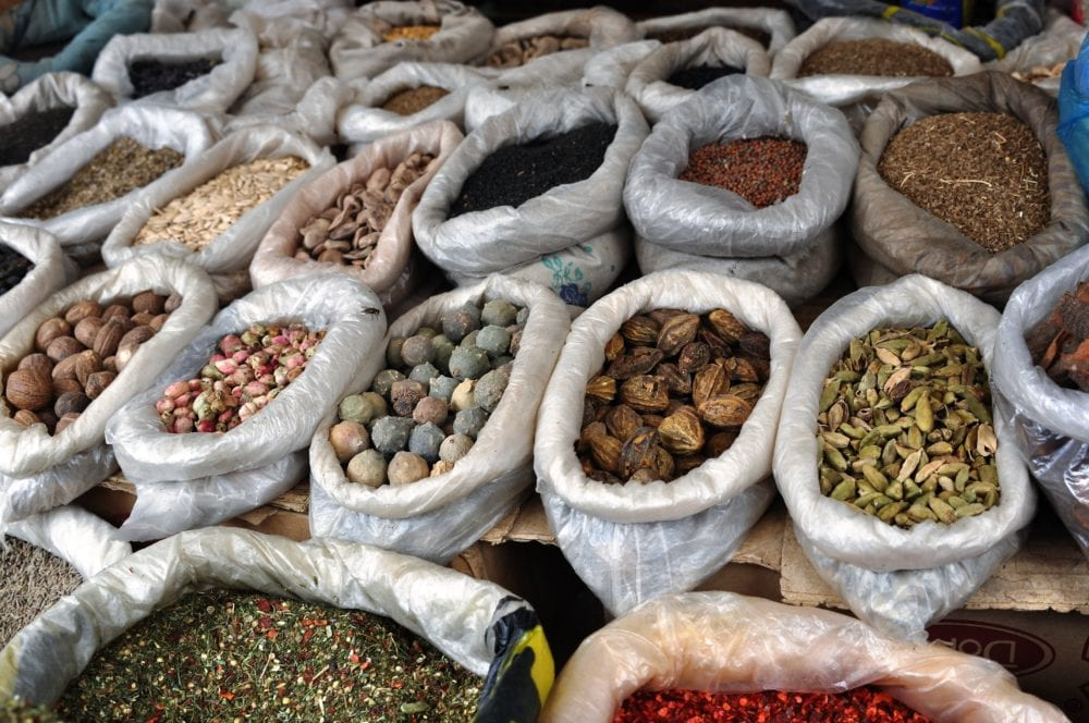 Sacks of spices, seeds and nuts in the bazaar at Osh
