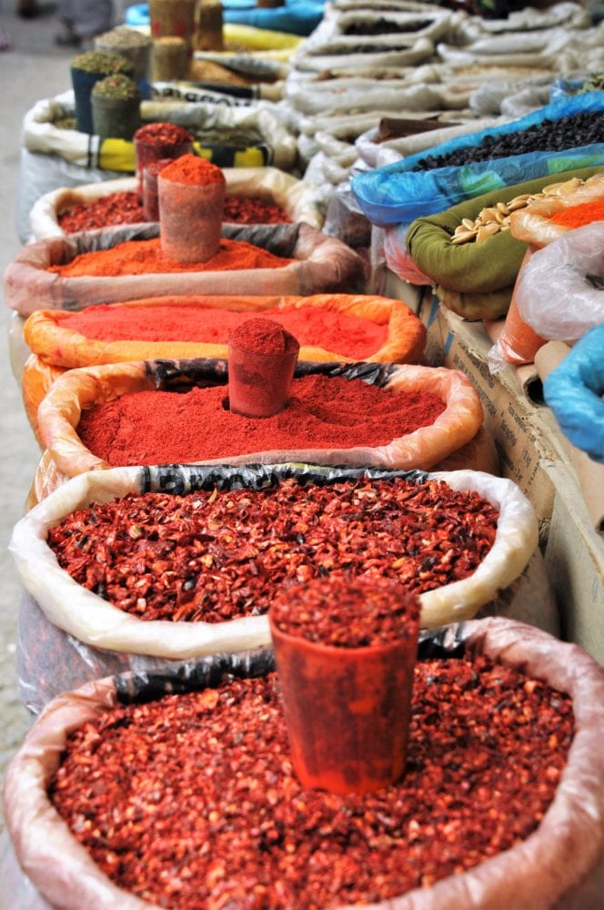 Sacks of spices in the bazaar at Osh