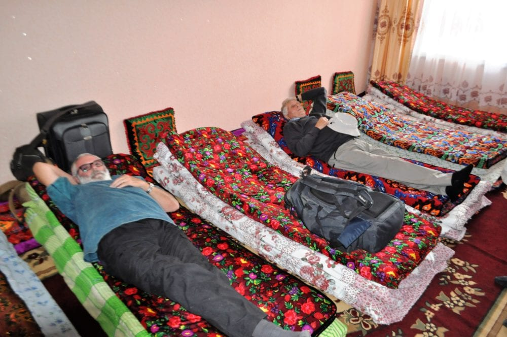 Beds on the floor at Sary Tash