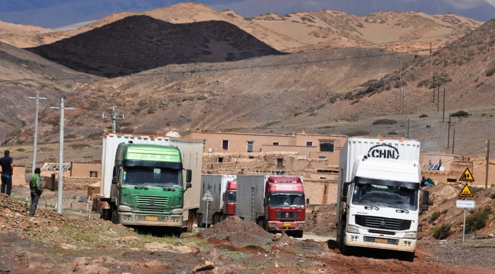 Trucks on the China-Kyrgyzstan border