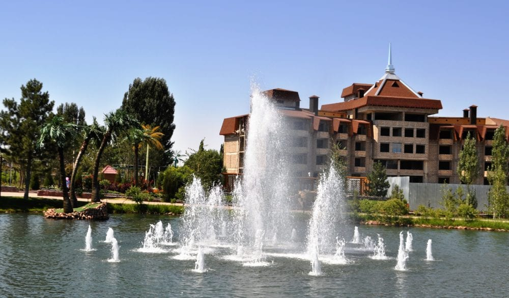 Fountains in a lake in Bishkek