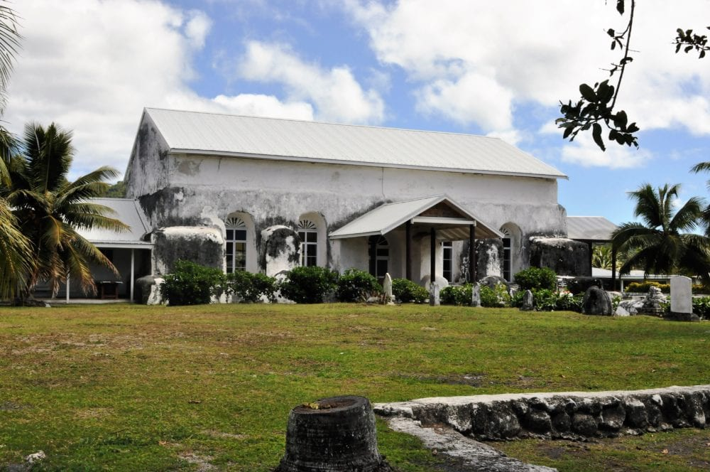 A small white church on Rarotonga