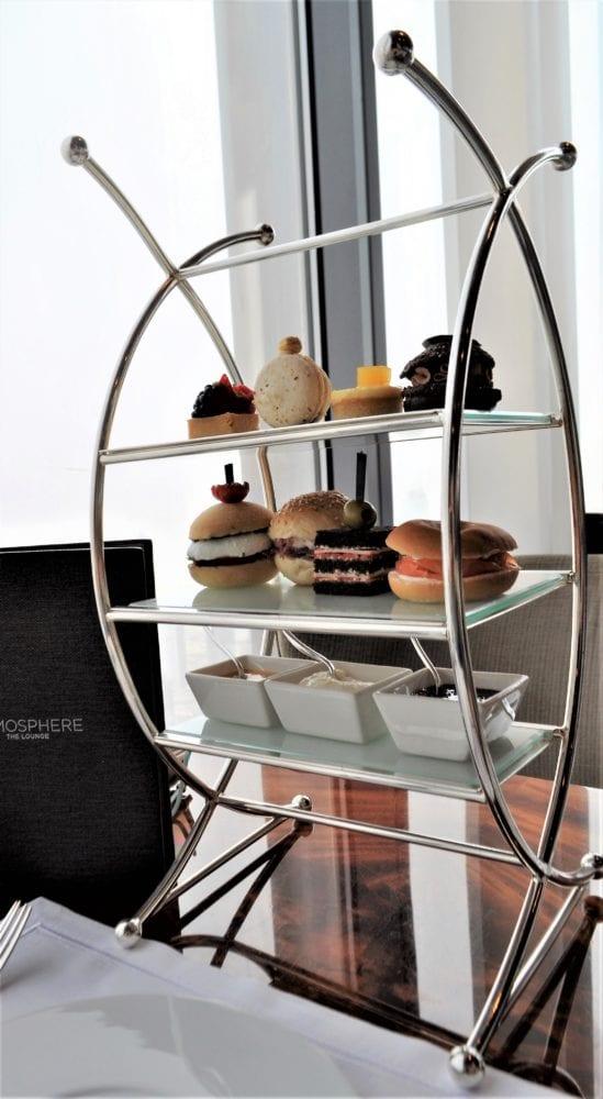 Stand full of miniature food for High Tea at the Burj Khalifa , Dubai