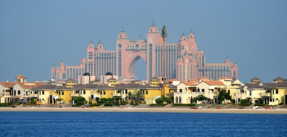The huge pink Atlantis Hotel fills the horizon at The Palm