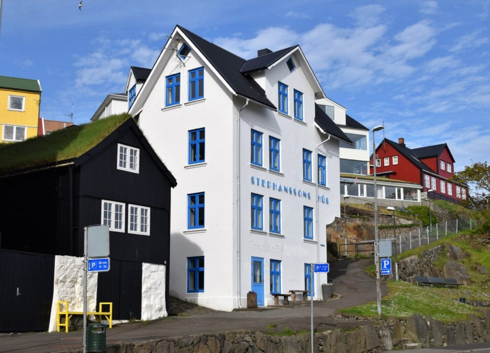 A blue and white house by the harbour, Torshavn