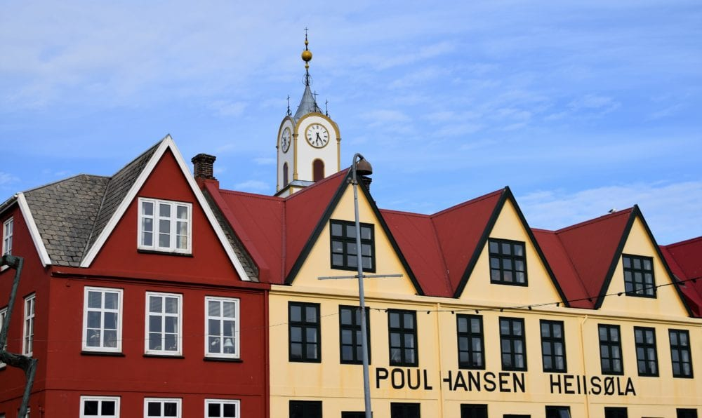 Red gabled houses with cream walls at Torshavn harbour