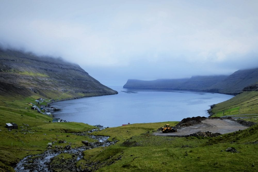 A circular sea inlet viewed from above, Faroe Islands