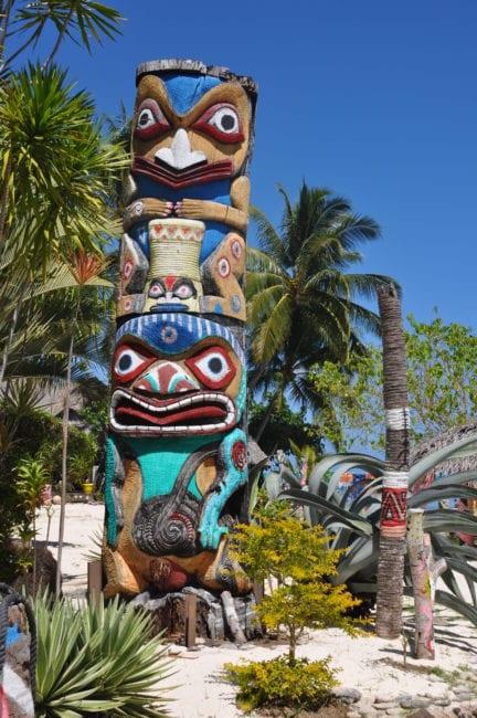 A painted Polynesian totem on Bora Bora