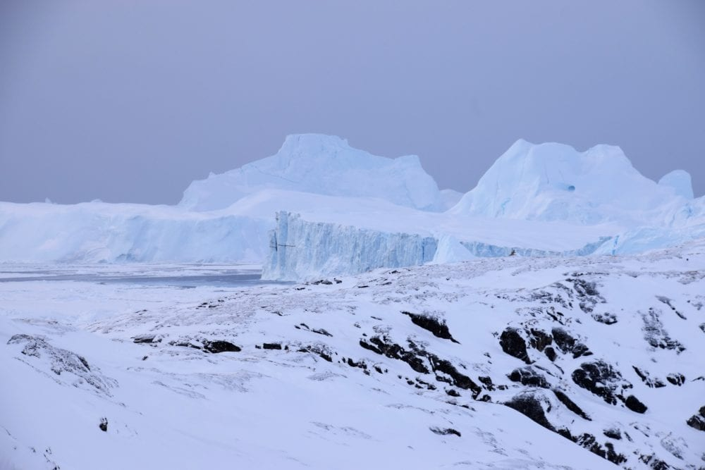 Glaciers ,peaks and walls of ice at Icefjord