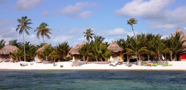 Casitas alongside the beach at Matachica, Belize