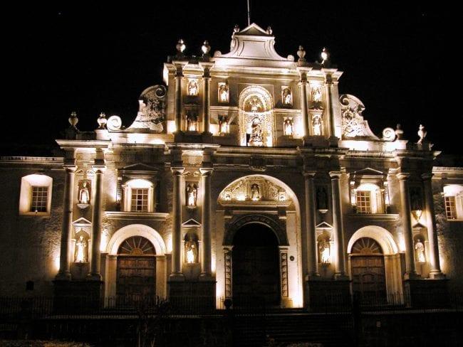 The illuminated façade of the cathedral Antigua Guatemala