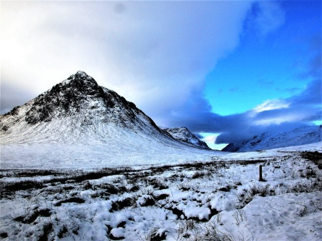 A snow covered peak in the Scottish Highlands