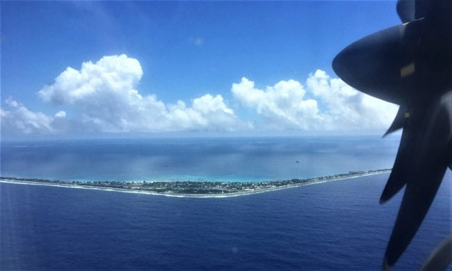 A view of the ridge of the Tuvalu atoll from the air