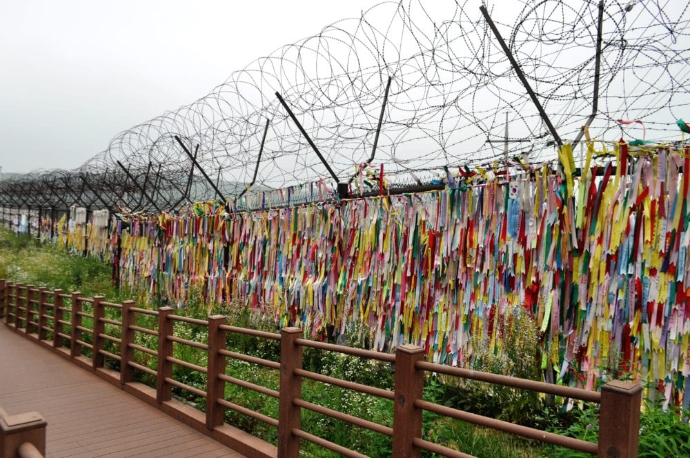 Coloured streamers at the DMZ remembering families who want to be reunited