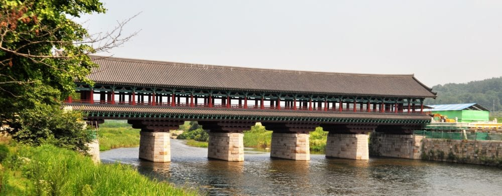 The expensive bridge at the restored village in Gyeongju