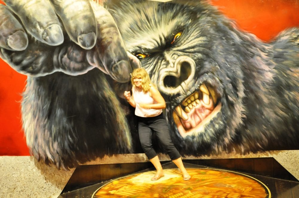 Sue being picked up by a gorilla at the Alive Museum, Jeju, South Korea