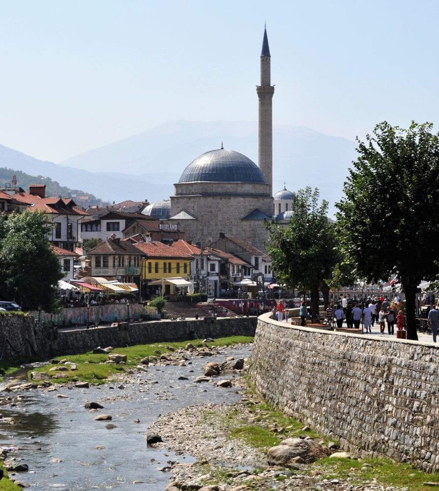 A view of the river and mosque at Prizren, Kosovo