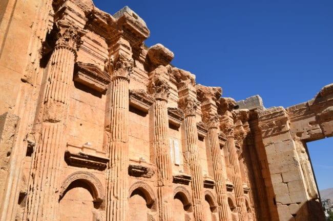 Inside the huge Bacchus temple at Baalbek
